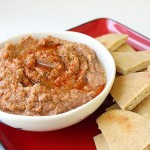 Roasted vegetable dip and pita chips