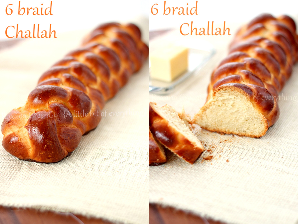 6 braid Challah bread recipe from Roxanashomebaking.com
