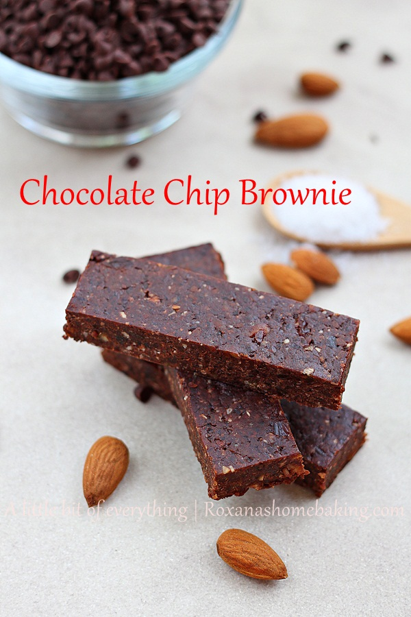 Gluten free and vegan chocolate chip brownie energy bars made with dates, nuts and chocolate chips from Roxanashomebaking.com