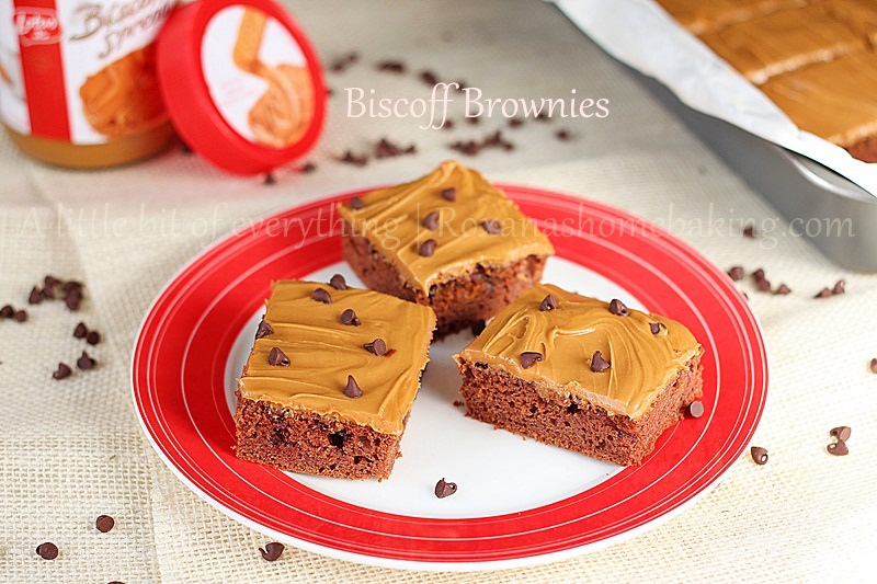 Chocolate Chip Biscoff Brownies with Biscoff Frosting  | roxanashomebaking.com/