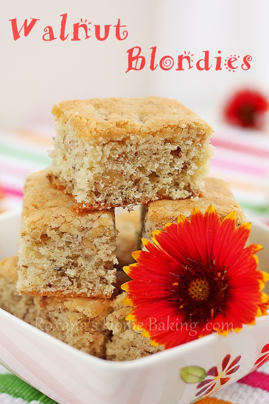 Walnut Blondies http://roxanashomebaking.com/