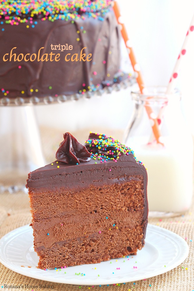 My favorite triple chocolate cake! Two layers of rich and tender chocolate cake filled with incredible smooth chocolate frosting and covered in a generous layer of chocolate ganache! For serious chocoholics!