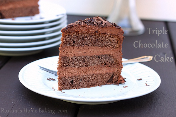 triple chocolate layer cake | Roxanashomebaking.com