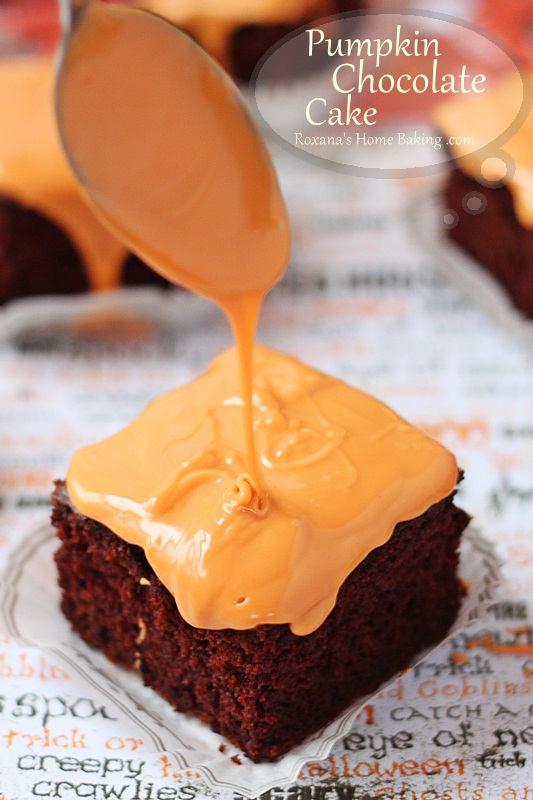 Pumpkin chocolate cake - rich, soft and crumbly chocolate cake topped ...