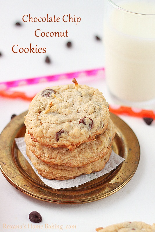 chocolate chip coconut cookies | Roxanashomebaking.com