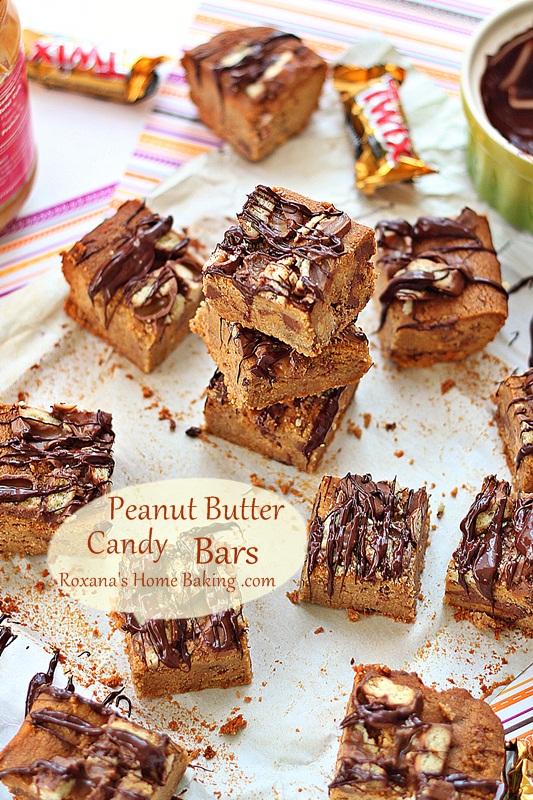 Peanut Butter Candy Bars | Roxanashomebaking.com