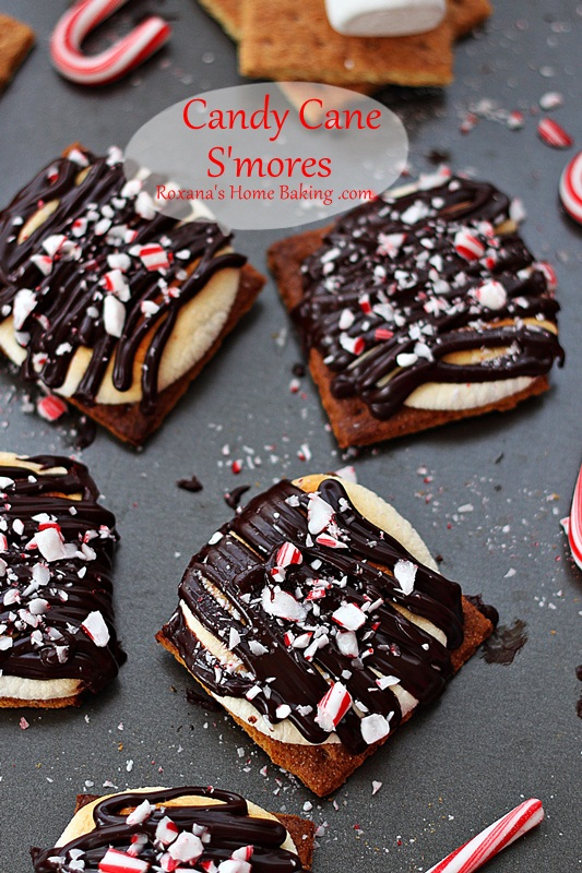 Put a holiday touch on your summer favorite treat. Candy Cane Smores from roxanashomebaking.com