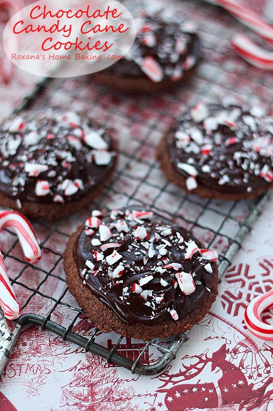 Buttery melt-in-your-mouth chocolate candy cane cookies. Recipe at ...