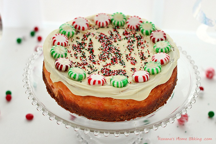 Peppermint Christmas candy cheesecake