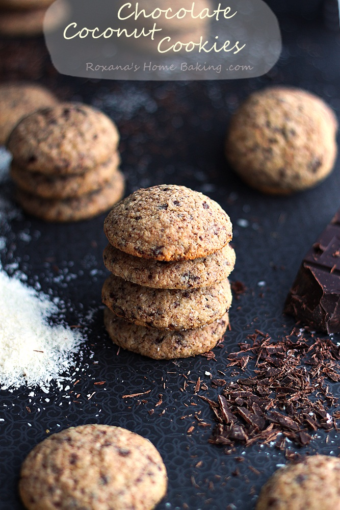 Chocolate coconut cookies from Roxanashomebaking.com A soft cake-like cookie with a rich coconut flavor and chocolate bites.