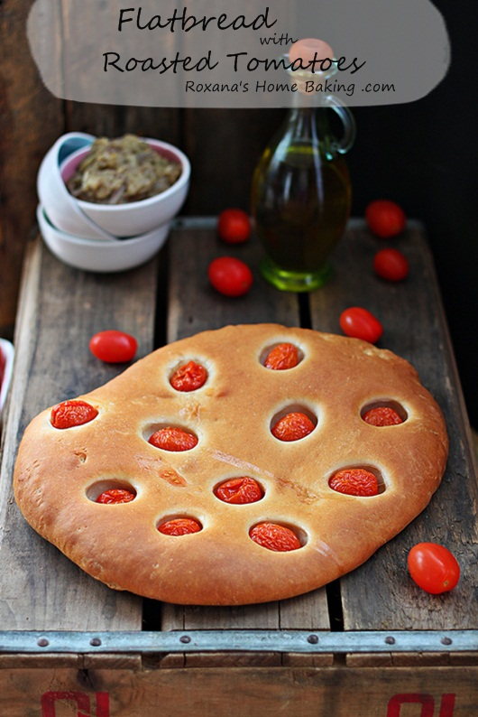 Flatbread with roasted tomatoes. Recipe from Roxanashomebaking.com