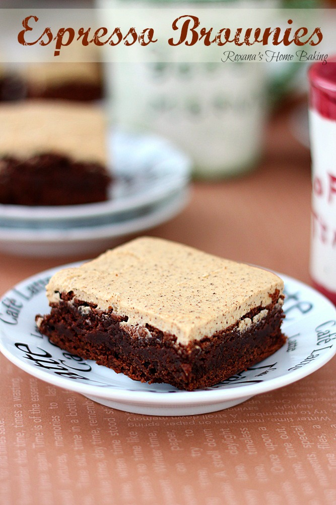 Espresso brownies with espresso frosting from Roxanashomebaking.com Rich, sweet, chocolate brownies with a strong coffee flavor covered with silky smooth espresso frosting