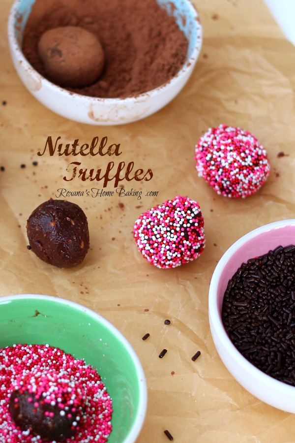 Nutella Truffles from Roxanashomebaking.com  A rich, smooth, creamy mixture of chocolate, cream, butter, chopped hazelnuts and heavenly Nutella. Easy and totally foolproof
