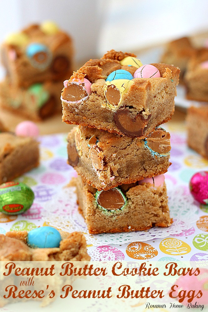These peanut butter cookie bars with Reese's peanut butter eggs may ...