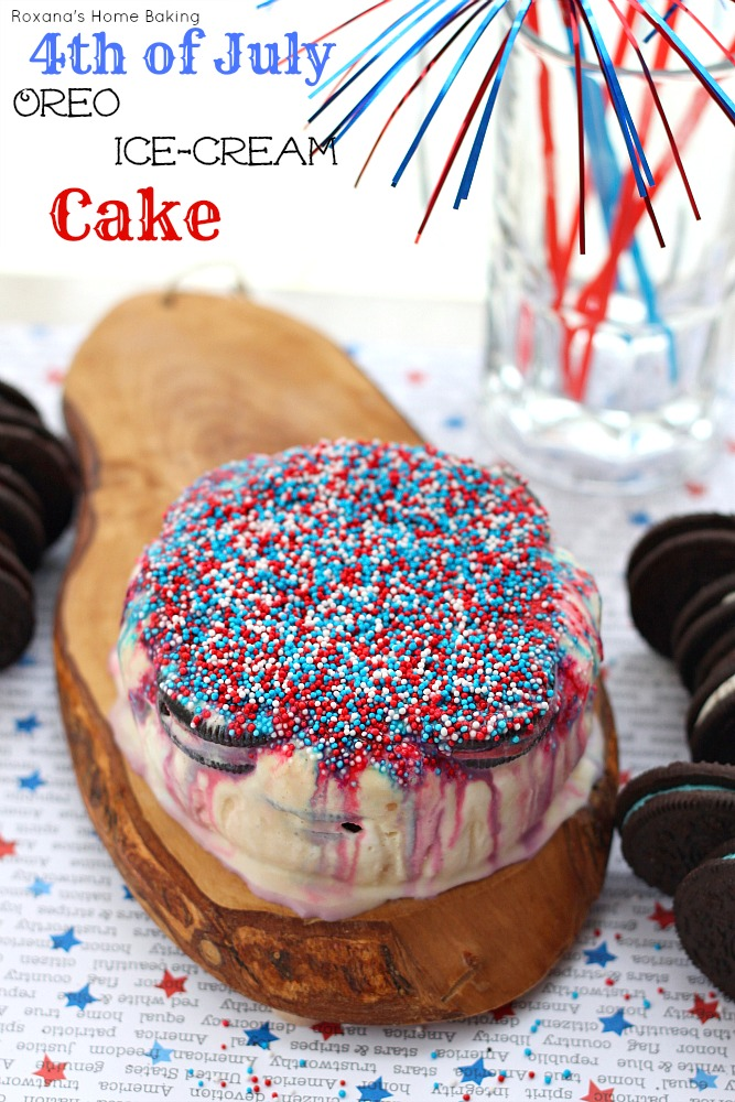 4th of July oreo ice-cream cake 3