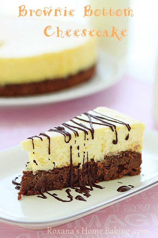 Brownie bottom cheesecake from Roxanashomebaking.com  The best of both worlds! A creamy cheesecake baked on top of a rich, chocolate-y, fudgy brownie.