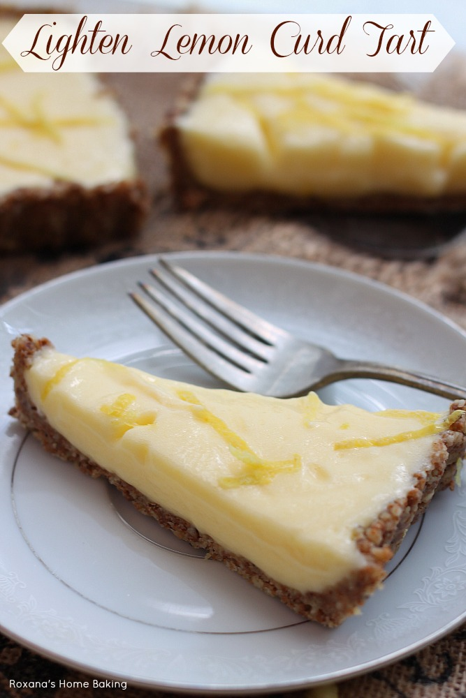 Tangy lemon juice and zest pair perfectly with the nutty crust in this creamy lemon curd tart, made lighter with the addition of a secret ingredient. Recipe from Roxanashomebaking.com