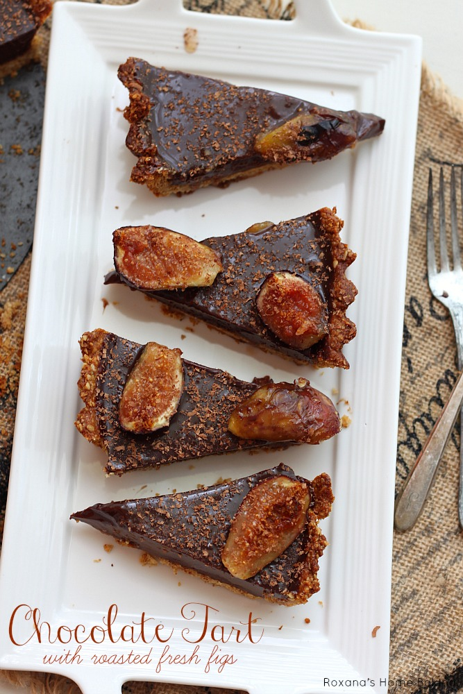 Decadent, rich chocolate ganache filling, a nutty crust and juicy sweet fresh figs make this roasted figs chocolate ganache tart a treat for a special occasion. Recipe from Roxanashomebaking.com