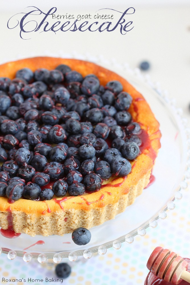 Light and airy, this goat cheese cheesecake from Roxanashomebaking.com is drizzled with berry honey creme and topped with fresh blueberries. A scrumptious dessert to enjoy at the end of the day.