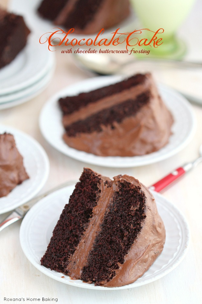 Covered in a luscious chocolate buttercream frosting, this chocolate cake with chocolate buttercream frosting from Roxanashomebaking.com is everything you want in a chocolate cake
