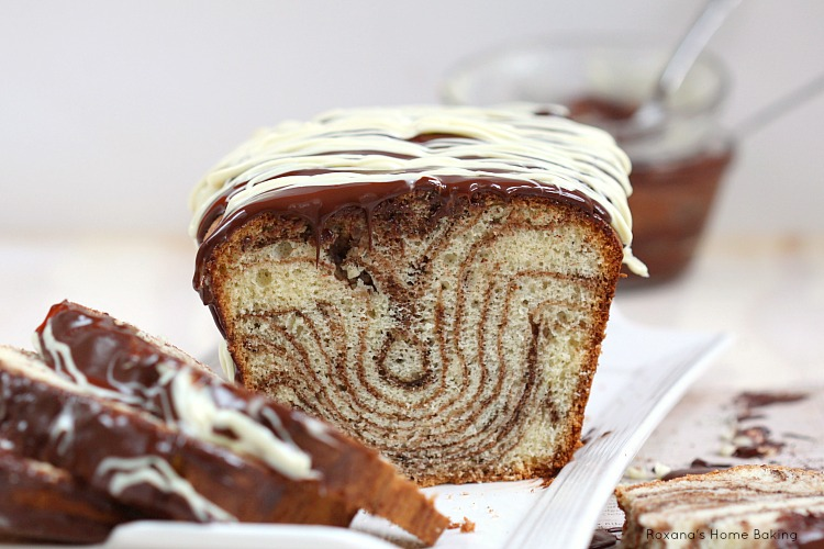 Chocolate and vanilla marble loaf cake