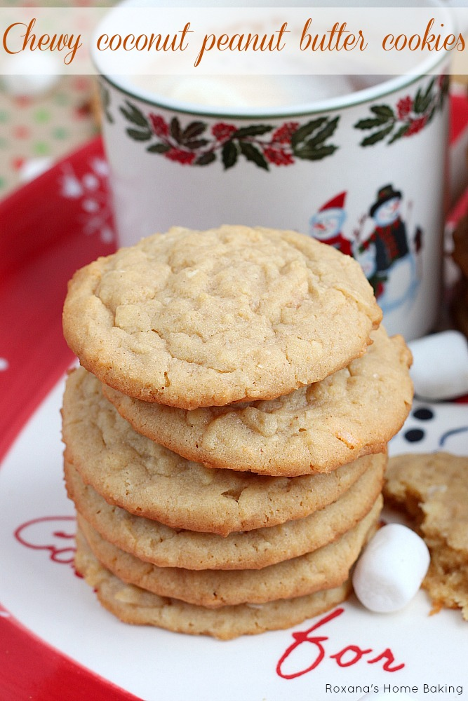 Bake a batch of these chewy coconut peanut butter cookies out for Santa and he'll leave you all the gifts you want! Yes, they are THAT good!!!