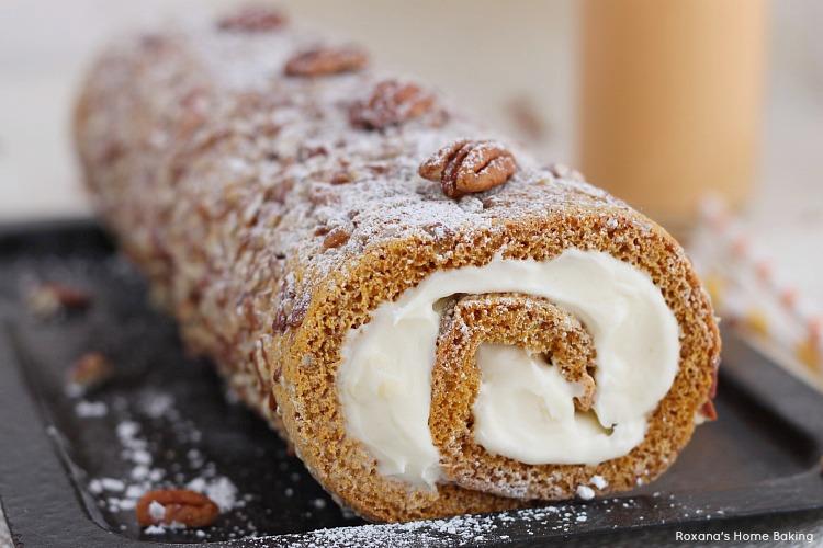 Pecan pumpkin roll cake recipe