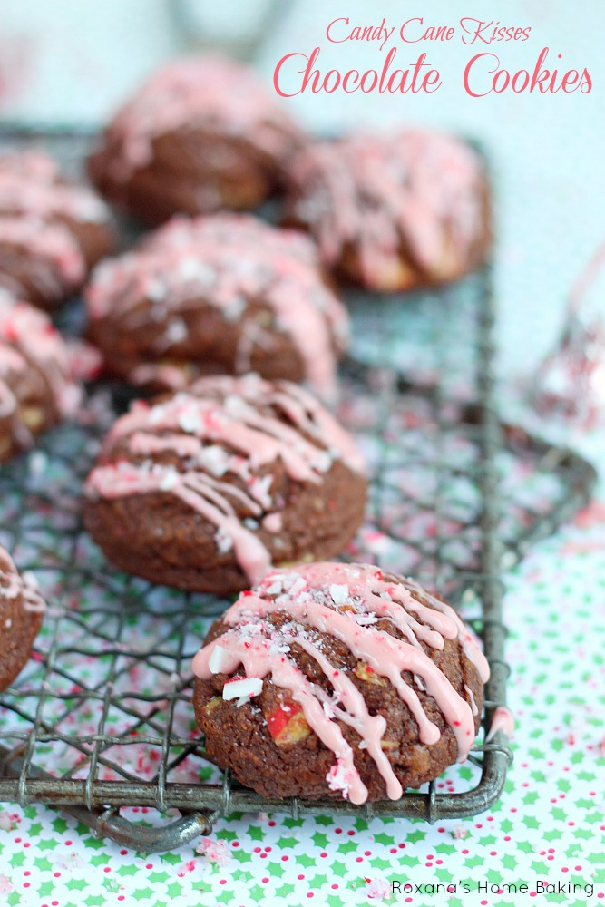 Candy cane kisses chocolate cookies
