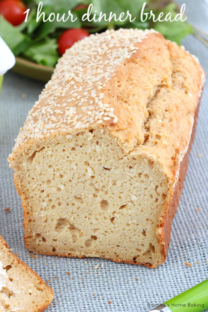 1 hour dinner bread (prep and baking time included). Recipe from Roxanashomebaking.com