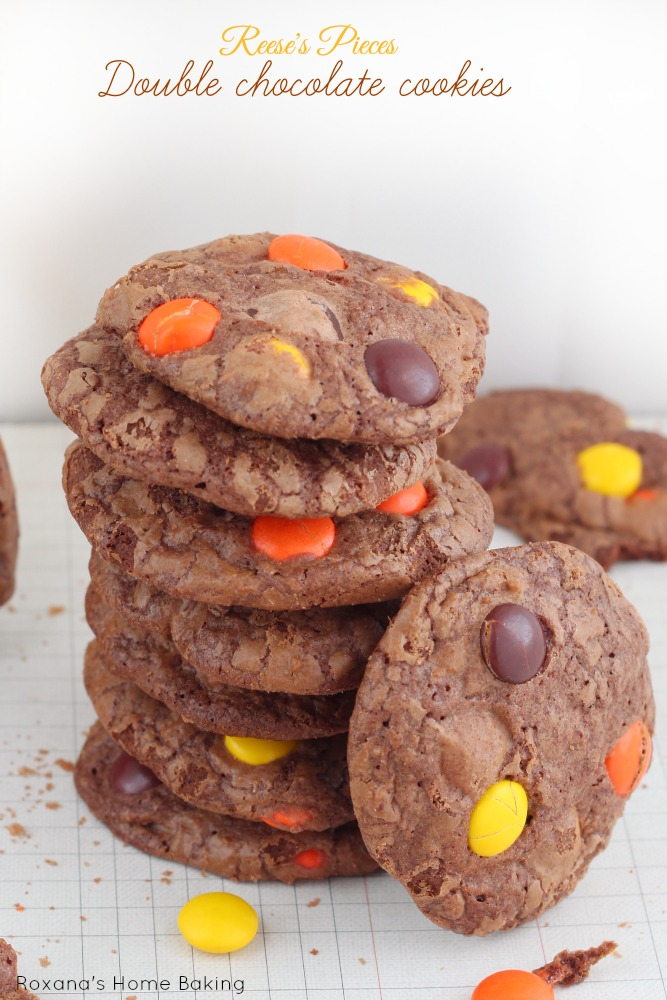 Crispy chewy brownie in a cookie form. Double chocolate cookies packed with Reese's pieces from Roxanashomebaking.com