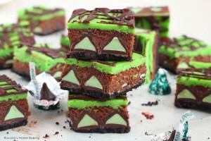 Mint truffle brownie cheesecake bars