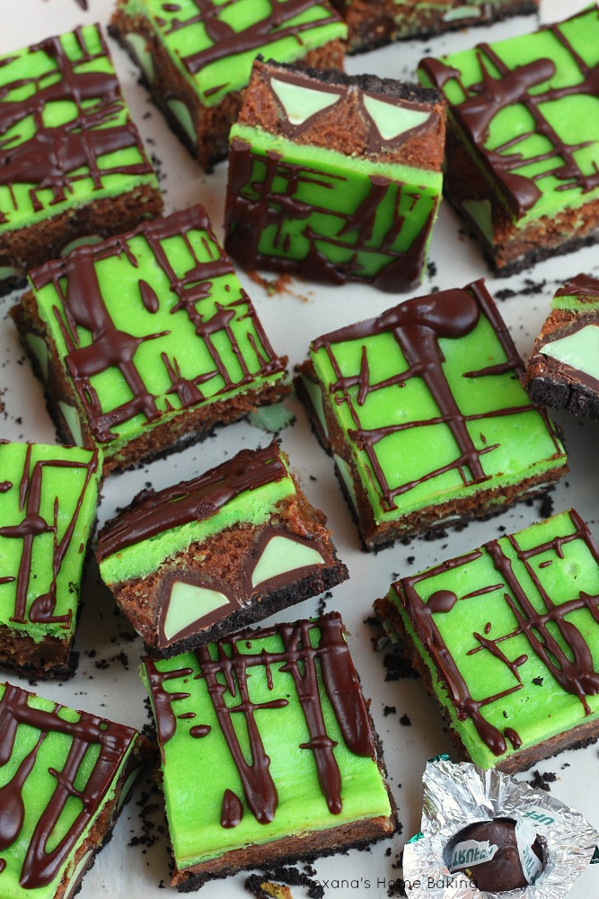 Better than thin mints, mint truffle brownie cheesecake bars