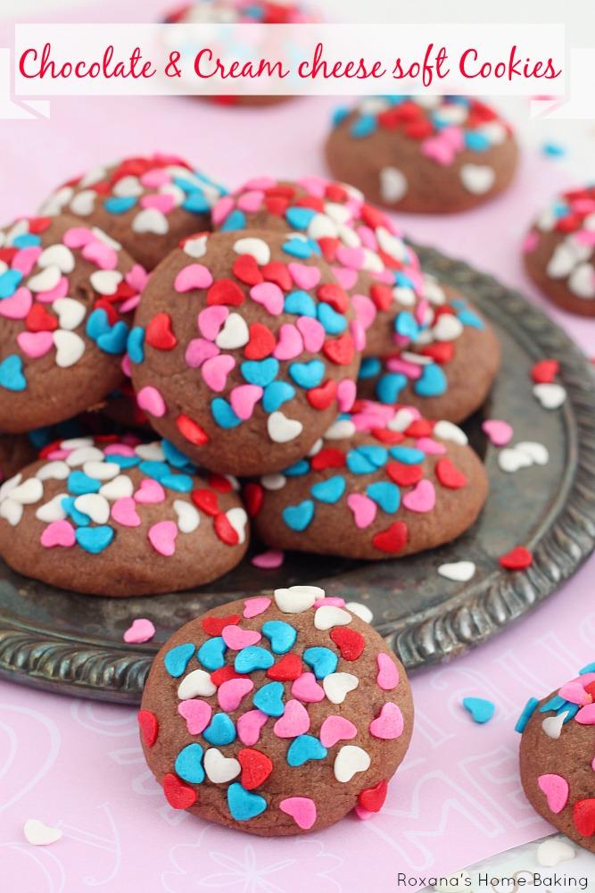 Chocolate cream cheese soft cookies recipe from Roxanashomebaking.com