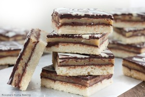 chocolate caramel shortbread cookie bars recipe