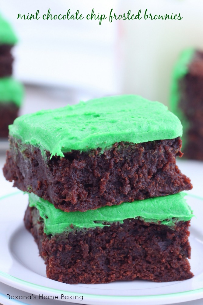 Decadent super fudgy mint chocolate chip frosted brownies