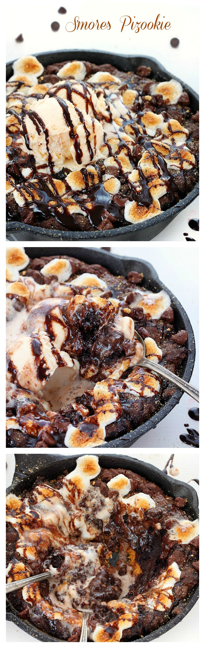 It's a pizza? It's a cookie? It's a triple chocolate smores pizookie baked in a skillet and topped with ice-cream - heaven in every bite!