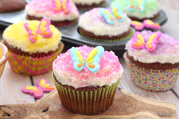 Garden fairy chocolate almond cupcakes recipe