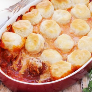 Upside down meatball casserole