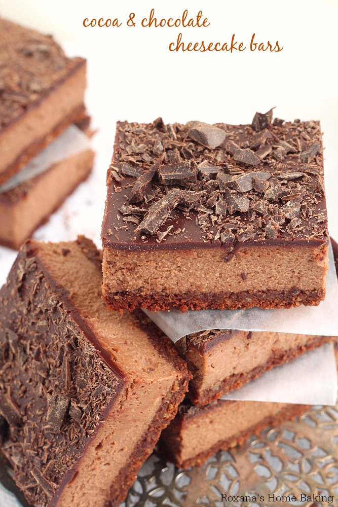 1 hour to make and bake, these chocolate cheesecake bars have chocolate goodness in every bite. Make them ahead, refrigerate and cut into bars when needed.