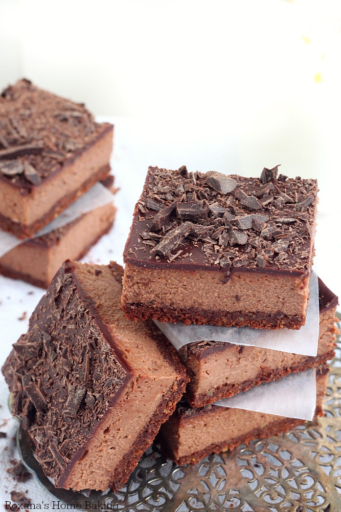 Cocoa chocolate cheesecake bars recipe
