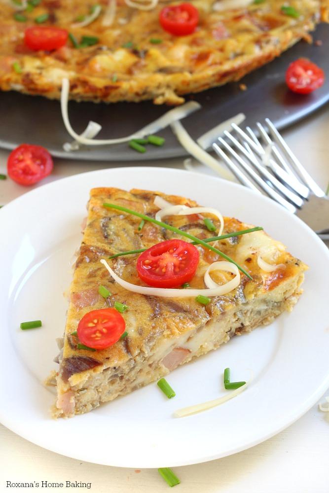 Three cheese caramelized onion and bacon frittata recipe from Roxanashomebaking.com