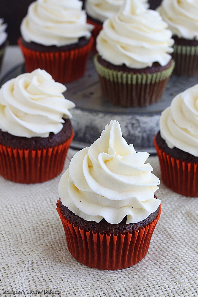Chocolate cupcakes with vanilla bean buttercream recipe from ...