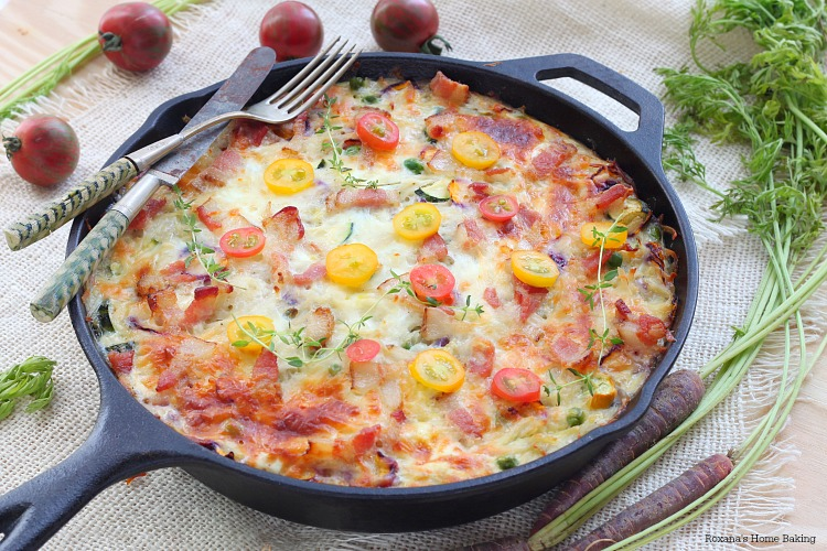 Make-ahead vegetable and bacon egg bake recipe