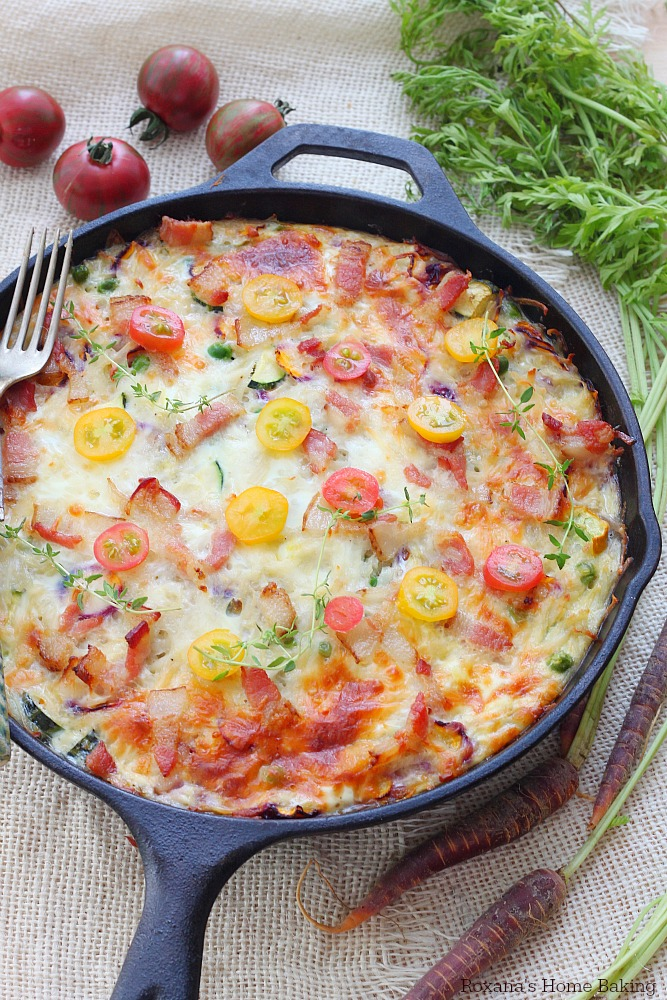 Make-ahead vegetable and bacon egg bake skillet