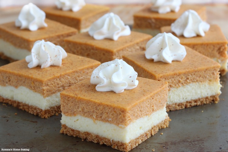 Pumpkin Cheesecake Squares Recipe — Dishmaps