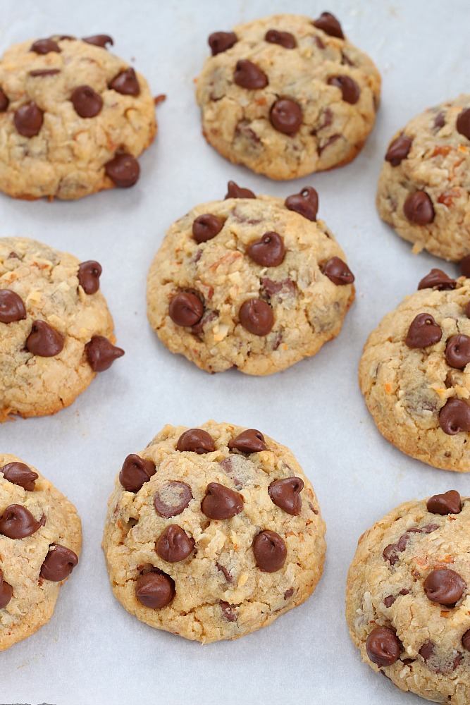 You won't get enough of these soft and chewy chocolate chip cookies loaded with chopped pecans and coconut flakes!