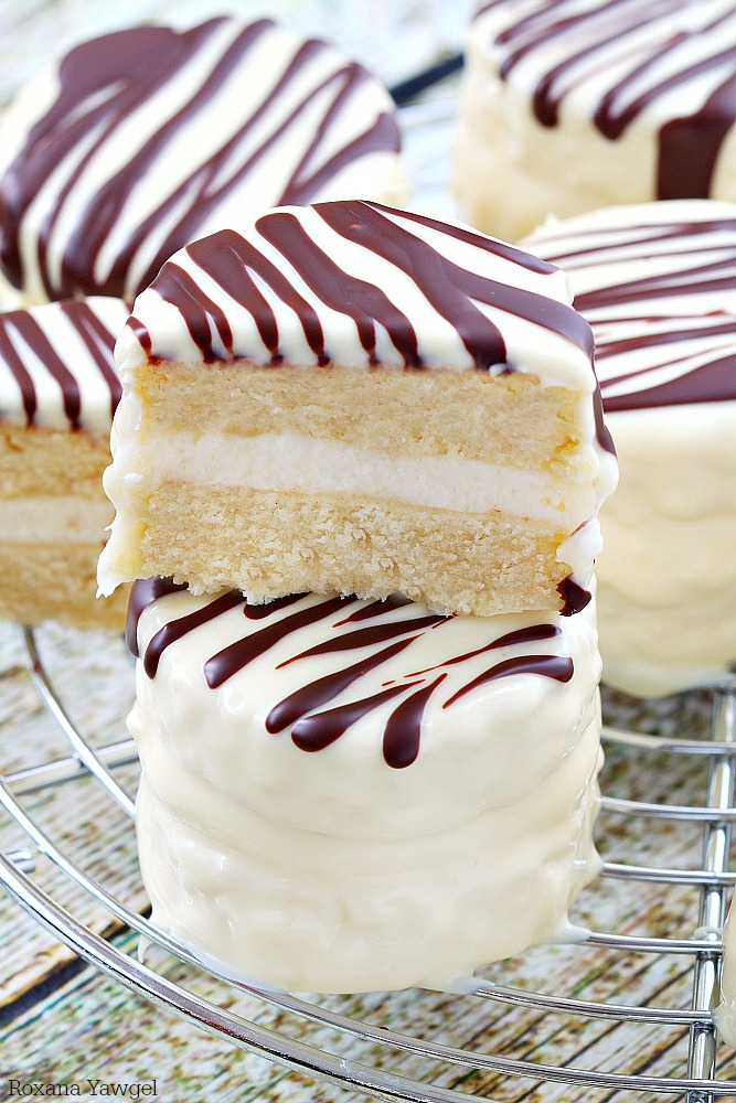 Inf With Vanilla Flavor And Coated In White Chocolate Dark Stripes These Made From Scratch Copycat Zebra Cakes Are Dangerously Good