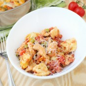 Creamy cheese tortellini and chicken skillet